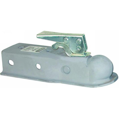 "Picture of Straight Tongue Coupler with 2"" Ball x 2-1/2"" Channel - Grey Primer"