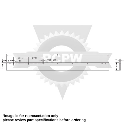 """Picture of 3' Standard Highway Steel Cutting Edge - CTSK (3/4"""" x 6"""" x 36"""")"""
