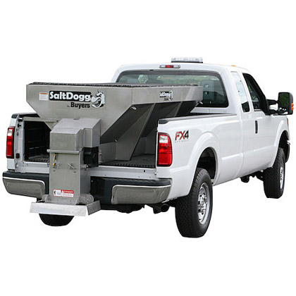 """Picture of Buyers SaltDogg 96"""" 2.0 Cubic Yard Adjustable Height Electric Stainless Steel Hopper Salt Spreader"""
