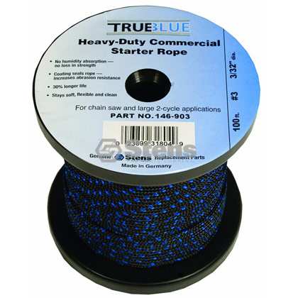 "Picture of #3 100' 3/32"" True-Blue Solid Braid Starter Rope"