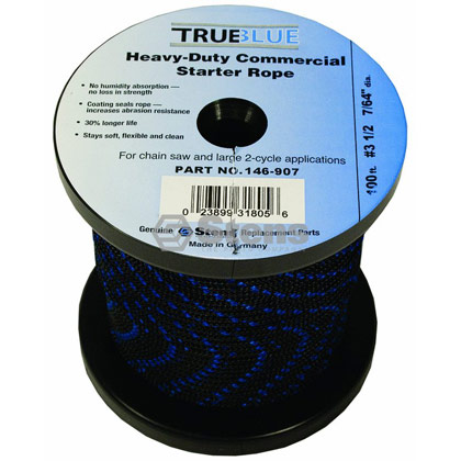 "Picture of #3-1/2 100' 7/64"" True-Blue Solid Braid Starter Rope"