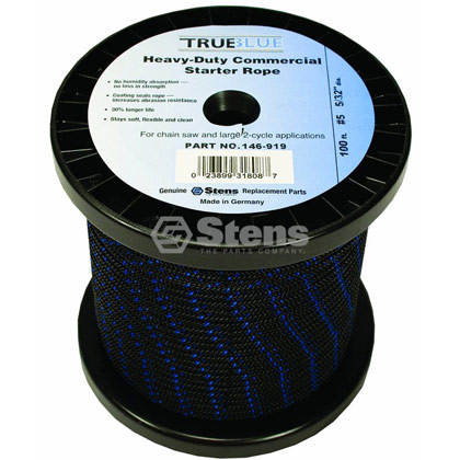 "Picture of #5 100' 5/32"" True-Blue Solid Braid Starter Rope"