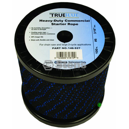 "Picture of #6 100' 3/16"" True-Blue Solid Braid Starter Rope"