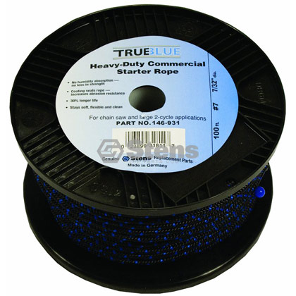 "Picture of #7 100' 7/32"" True-Blue Solid Braid Starter Rope"
