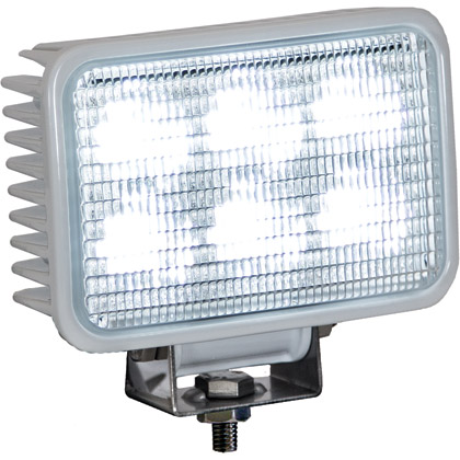 "Picture of 4"" x 6"" 6 LED Clear Rectangular Flood Light with White Housing"