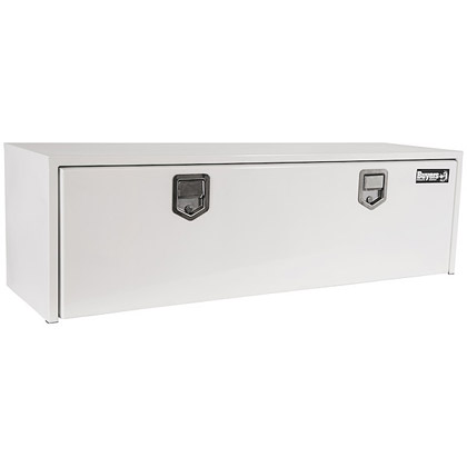 "Picture of 18"" x 18"" x 48"" White Steel Underbody Drop Door Toolbox with 2 Rotary Paddle Latches"