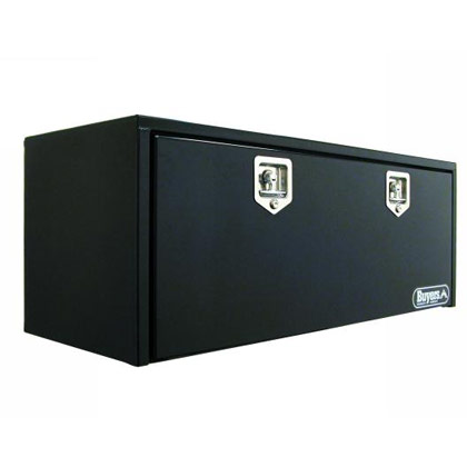 "Picture of 18"" x 18"" x 66"" Black Steel Underbody Drop Door Toolbox with 2 T-Handle Latches"