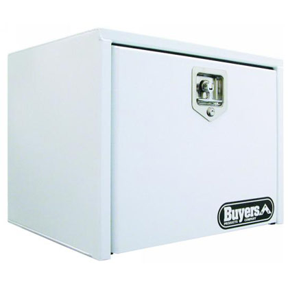 "Picture of 18"" x 18"" x 24"" White Steel Underbody Drop Door Toolbox with T-Handle Latch"