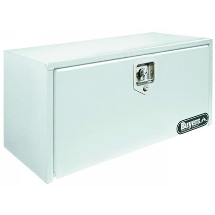 "Picture of 18"" x 18"" x 30"" White Steel Underbody Drop Door Toolbox with T-Handle Latch"
