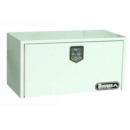 "Picture of 18"" x 18"" x 36"" White Steel Underbody Drop Door Toolbox with T-Handle Latch"