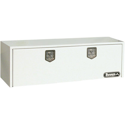 "Picture of 18"" x 18"" x 60"" White Steel Underbody Drop Door Toolbox with 2 T-Handle Latches"