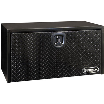 "Picture of 18"" x 18"" x 36"" Black Steel Underbody Aluminum Drop Door Toolbox with Die-Cast T-Handle Compression Latch"