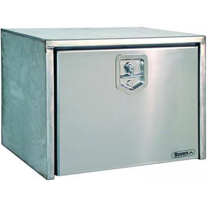 "Picture of 18"" x 18"" x 48"" Stainless Steel Underbody Toolbox with Polished Stainless Steel Door"