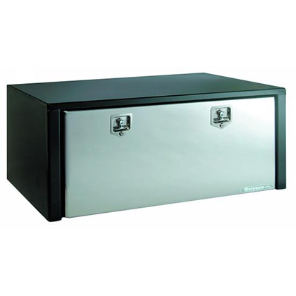"Picture of 18"" x 18"" x 48"" Black Steel Underbody Toolbox with Stainless Steel Door"