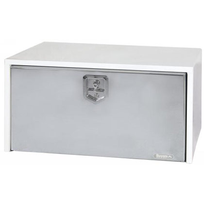 "Picture of 18"" x 18"" x 60"" White Steel Underbody Toolbox with Polished Stainless Steel Door"