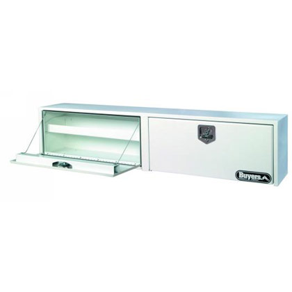 """Picture of 16"""" x 13"""" x 96"""" White Steel Topside Toolbox with 2 T-Handle Latches"""