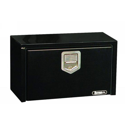 "Picture of 14"" x 16"" x 30"" Black Steel Underbody Drop Door Toolbox with Rotary Paddle Latch"
