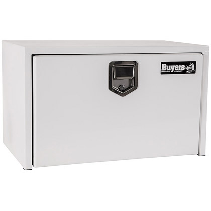 "Picture of 14"" x 16"" x 30"" White Steel Underbody Drop Door Toolbox with Rotary Paddle Latch"