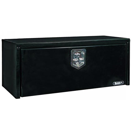 "Picture of 14"" x 16"" x 30"" Black Steel Underbody Drop Door Toolbox with T-Handle Latch"
