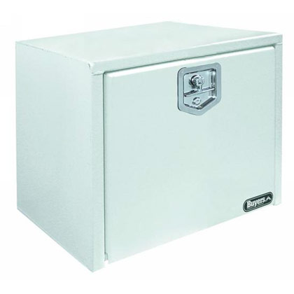 "Picture of 14"" x 16"" x 30"" White Steel Underbody Drop Door Toolbox with T-Handle Latch"