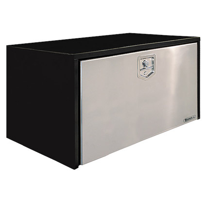 """Picture of 24"""" x 24"""" x 36"""" Black Steel Underbody Toolbox with Stainless Steel Door and T-Handle Latch"""