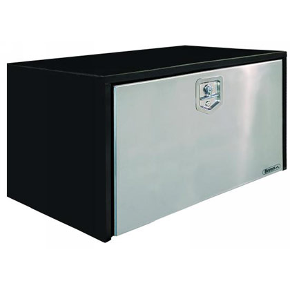 "Picture of 24"" x 24"" x 48"" Black Steel Underbody Toolbox with Stainless Steel Door and 2 T-Handle Latches"