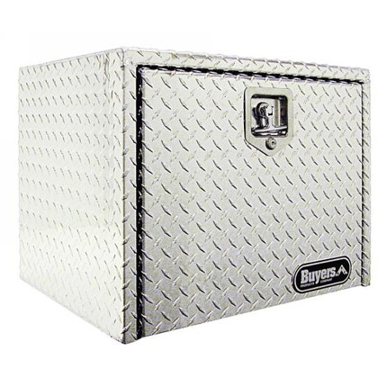 "Picture of 14"" x 12"" x 24"" Aluminum Underbody Toolbox with Aluminum Recessed Door and T-Handle Latch"