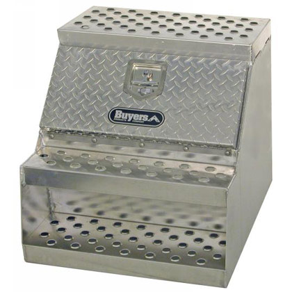 "Picture of 24"" x 28"" x 18"" Aluminum Step Box for Medium and Heavy-Duty Trucks"