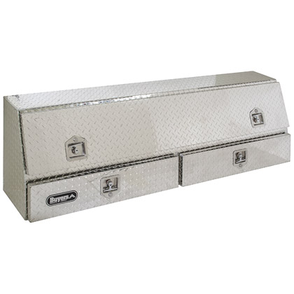 "Picture of 21"" x 13.5""/10"" x 72"" Contractor Style Diamond Tread Aluminum Topside Toolbox with Drawers"