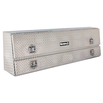"Picture of 21"" x 13.5""/10"" x 96"" Contractor Style Diamond Tread Aluminum Topside Toolbox"