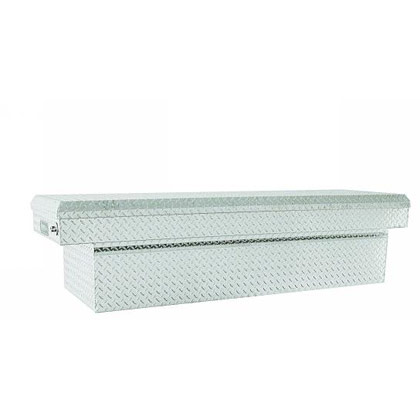 "Picture of 23"" x 20"" x 71"" Diamond Tread Aluminum Single Lid Cross Box for Full Size Pickups with 6-1/2' or 8' Beds"