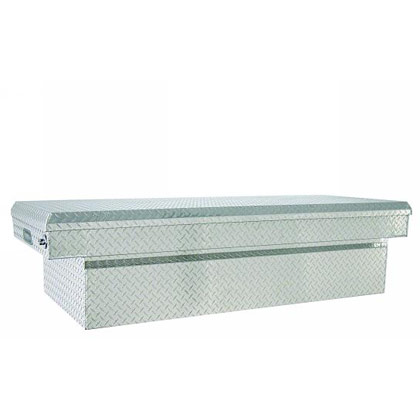 "Picture of 18"" x 27"" x 71"" Diamond Tread Aluminum Single Lid Cross Box for Full Size Pickups with 6-1/2' or 8' Beds"
