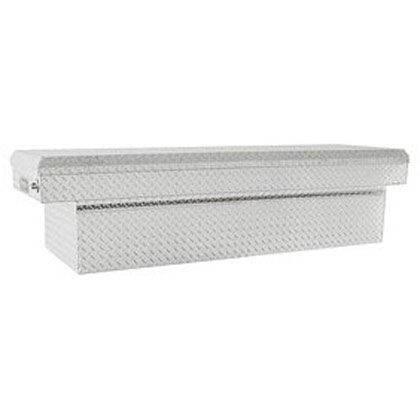 "Picture of 23"" x 27"" x 71"" Diamond Tread Aluminum Single Lid Cross Box for Full Size Pickups with 6-1/2' or 8' Beds with Slant"