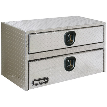 "Picture of 20"" x 18"" x 36"" Aluminum Underbody Toolbox with Drawer, Aluminum Recessed Door and 2 T-Handle Latches"