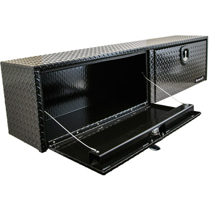 "Picture of 16"" x 13"" x 72"" Black Powder Coated Aluminum Topside Toolbox"