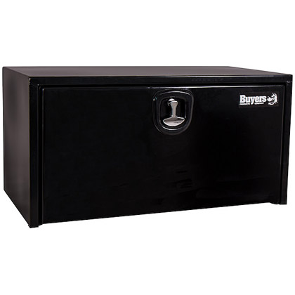 "Picture of 18"" x 18"" x 24"" Black Powder Coated Steel Underbody Drop Door Toolbox with 3-Point Latch"