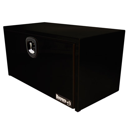 "Picture of 18"" x 18"" x 36"" Black Powder Coated Steel Underbody Drop Door Toolbox with 3-Point Latch"