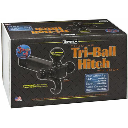 "Picture of Tri-Ball Tubular Hitch with Hook and 1-7/8"", 2"" & 2-5/16"" Black Towing Balls"