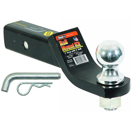 "Picture of Black Powder Coated Ball Mount Kit with 2"" Drop includes 2"" Ball and Hitch Pin - PACK OF 3"