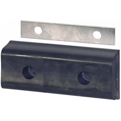 "Picture of Extruded Rubber Rectangular Bumper with Mounting Plate - 4-3/4"" W x 10"" L x 2-3/4"" T - PACK OF 4"