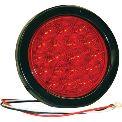 """Picture of 4"""" 18 LED Red Round Stop/Turn/Tail Light with Grommet and PL3 Plug"""