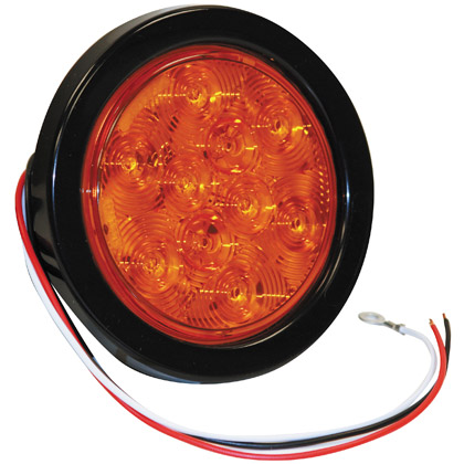 "Picture of 4"" 10 LED Amber Round Turn Signal with PL3 Plug"
