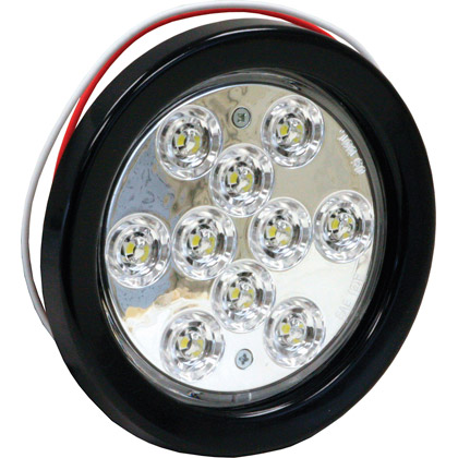 "Picture of 4"" 10 LED Round Clear Back-Up Light with Grommet and PL2 Plug"