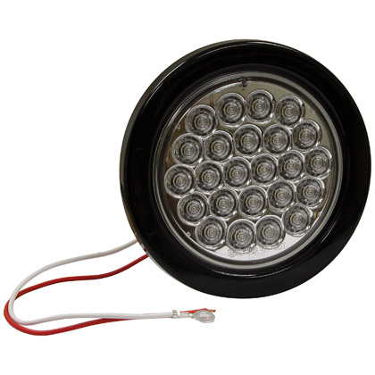 "Picture of 4"" 24 LED Clear Round Back-Up Light with Grommet and PL2 Plug"