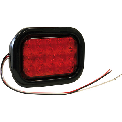 "Picture of 5-1/3"" Rectangular 15 LED Red with Grommet and PL3 Plug"