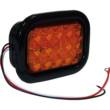 "Picture of 5-1/3"" 15 LED Amber Rectangular Turn Signal with Grommet and PL3 Plug"