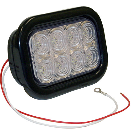 "Picture of 5-1/3"" 32 LED Clear Rectangular Backup Light with Grommet and PL2 Plug"