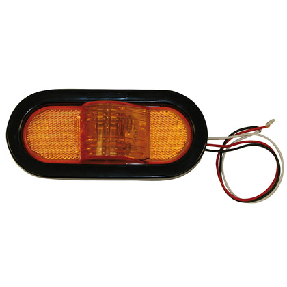 "Picture of 6-1/2"" 9 LED Amber Oval Mid Turn/Side Marker & Reflector with Grommet and PL3 Plug"
