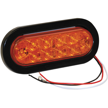 "Picture of 6-1/2"" 10 LED Amber Oval Turn Signal with Grommet and PL3 Plug"