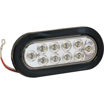 "Picture of 6-1/2"" 10 LED Clear Oval Back-Up Light with Grommet and PL2 Plug"